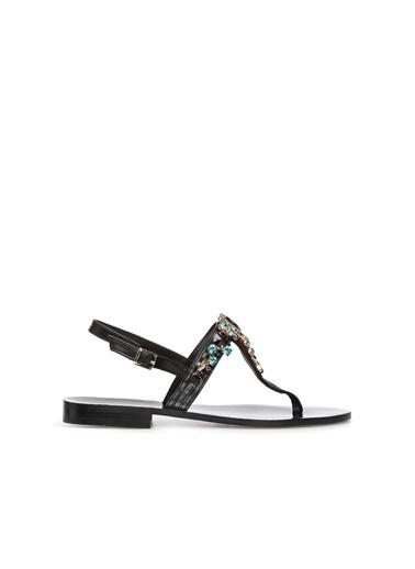 Divarese 5024230 Taşlı Kadın Sandalet Siyah